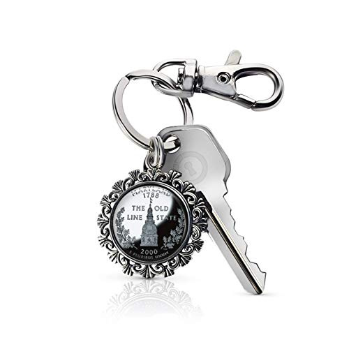 - Akissey United States Quarter Dollar Photo Charm Key Chain, Patriotic Key Fob (Maryland)