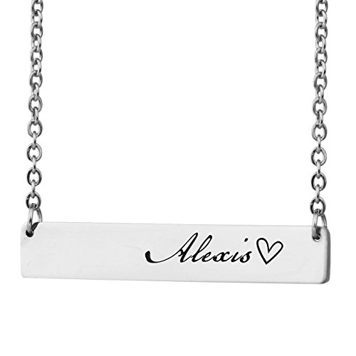 HUAN XUN Personalized Bar Custom Name Necklace Alexis Personal Womens Jewelry Birthday Gift ()