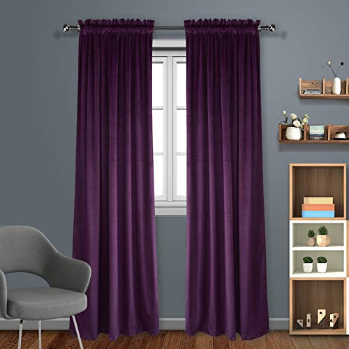 Eamior Living Room Blackout Velvet Curtains - Super Soft Dutch Velvet Rod Pocket Drapes Sound Reducing Heavy Solid Panels (1 Pair, 96 inch Long, Royal Purple) ()