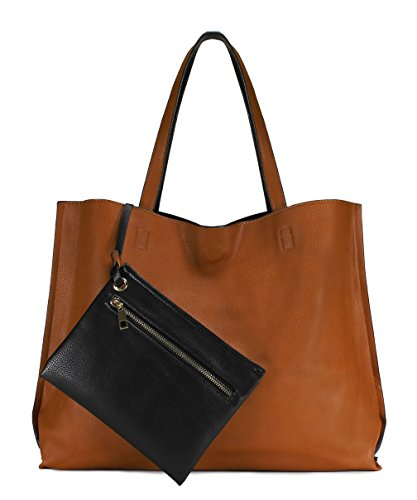 (Scarleton Stylish Reversible Tote Handbag for Women, Vegan Leather Shoulder Bag, Hobo bag, Satchel Purse, Camel/Black, H18422501 )