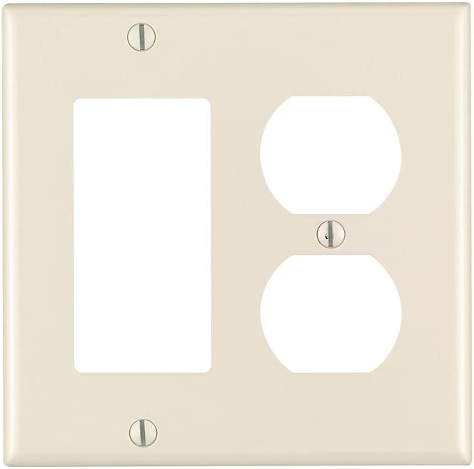 Leviton 80455-T 2-Gang 1-Duplex 1-Decora/GFCI Device Combination Wallplate, Standard Size, Thermoset, Device Mount, Light Almond