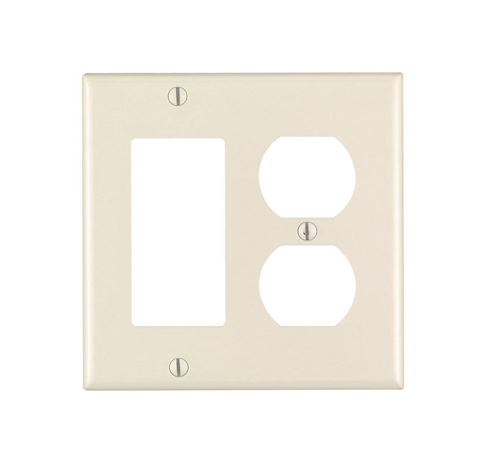 Leviton 80455-T 2-Gang 1-Duplex 1-Decora/GFCI Device Combination Wallplate, Standard Size, Thermoset, Device Mount, Light Almond