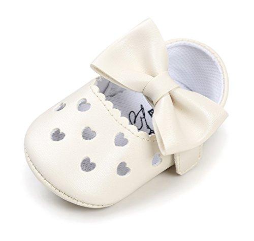Bebila Baby Girls Sandals Soft Soled Bow Ballet Toddler Dress Shoes Anti-Slip Mary Jane Baby Moccasins (11cm(0-6months), Cream) -