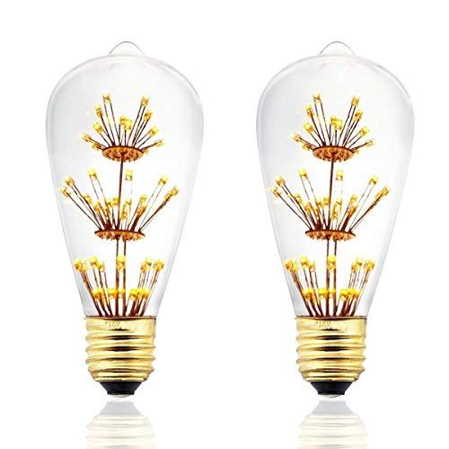 ulbs,Decorative Firework LED Bulbs Glass,Dimmable,Warm White 2200k, E26/E27 Base Antique Filament Bulb for Bar,Bedroom,Wedding,Christmas. ()