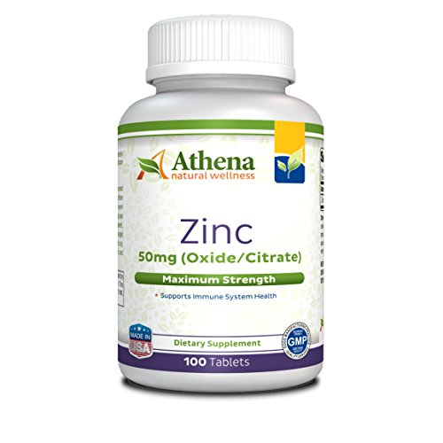 Athena - Zinc Supplement Tablets 50mg - Oxide/Citrate - 100 Coated Tablets