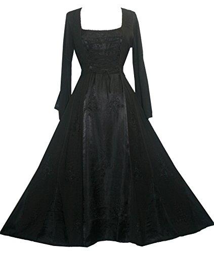 Agan Traders DR 003 Vampire Gothic Renaissance Dress Gown (XL/1X, Black)