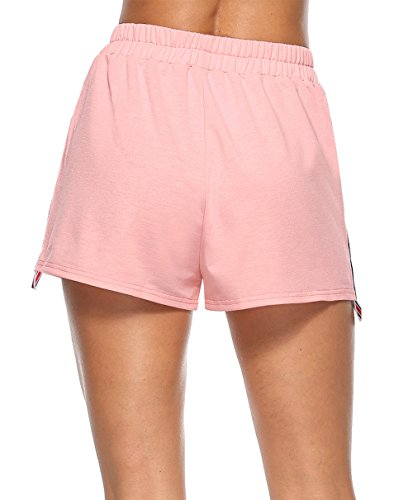Fitness da Righe Rosa Donne Pantaloncini Cucitura Sportive Shorts Hot Pants xYpIq