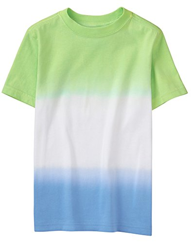 Gymboree Little Boys' Short Sleeve Crewneck Graphic Tee, Green/Blue Dip Dye, (Dip Dye Crew Tee)