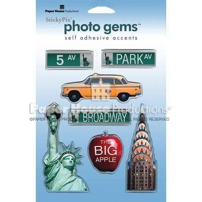 PAPER HOUSE TRAVEL VACATION NEW YORK CITY PHOTO GEMS 3D EPOXY STICKERS