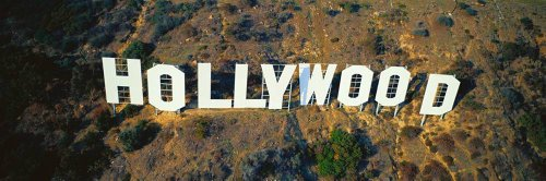 Walls 360 Peel & Stick Wall Mural: Hollywood Sign Aerial View (36 in x 12 in) -