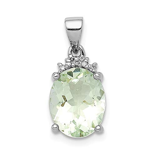 925 Sterling Silver Green Quartz Diamond Pendant Charm Necklace Gemstone Fine Jewelry Gifts For Women For Her