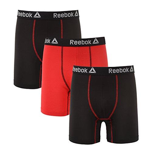 3 pak Red//Black Large Reebok 6/'/' Boxer Briefs Men/'s Performance Training