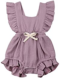 a2dbf0ded76 Infant Newborn Baby Girl Romper Bodysuit Ruffle Bowknot One-Piece Jumpsuit  Outfit Clothes Summer 0