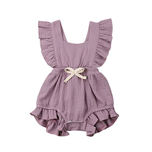Baby Girl Ruffled Sleeveless Cotton Bodysuits One-Piece Romper Jumpsuit Toddler Outfits Clothes Purple 6-12 Months