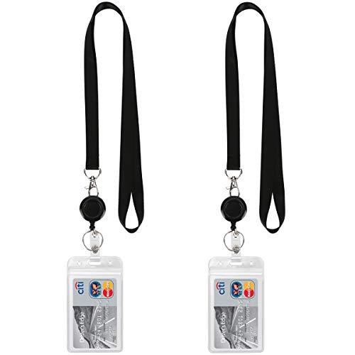 Lanyard Black Retractable Badge Reel with ID Badge Holder with Badge Reel Clip Breakaway for Card Badges Holders Vertical Punched Zipper Waterproof 2 Pack ()