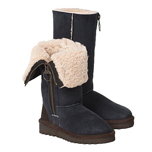 (Celtic & Co. Womens Zipped British Shearling Calf Height Aviator Boots - Blue Iris - 11)