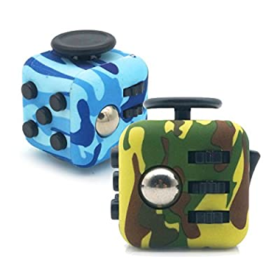 2 PCS Green Blue Camo Fidget Toy Cube Anxiety Attention Relieves Stress for Children and Adults