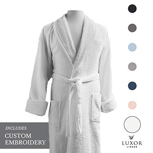 Luxor Linens - Terry Cloth Bathrobes - 100% Egyptian Cotton - Luxurious, Soft, Plush Durable Set of Robes (1 pc, with Custom Monogram and Gift - Terry Personalized