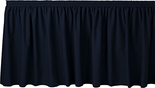 Bright Settings 7 Foot Shirred Table Skirt w/ 3/4 Inch Hook-and-Loop Fastener Clips, Flame Retardant Basic Polyester, 29 Inch High, Navy ()