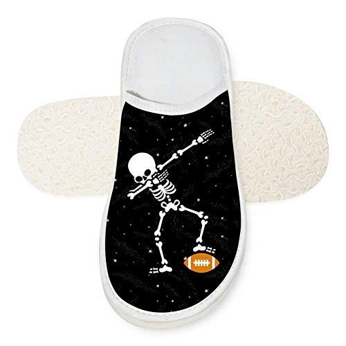 Adult Dab Skull American Football House Slippers Comfort Winter Warm House Slipper Indoor Slip Shoes for women 8 B(M) -