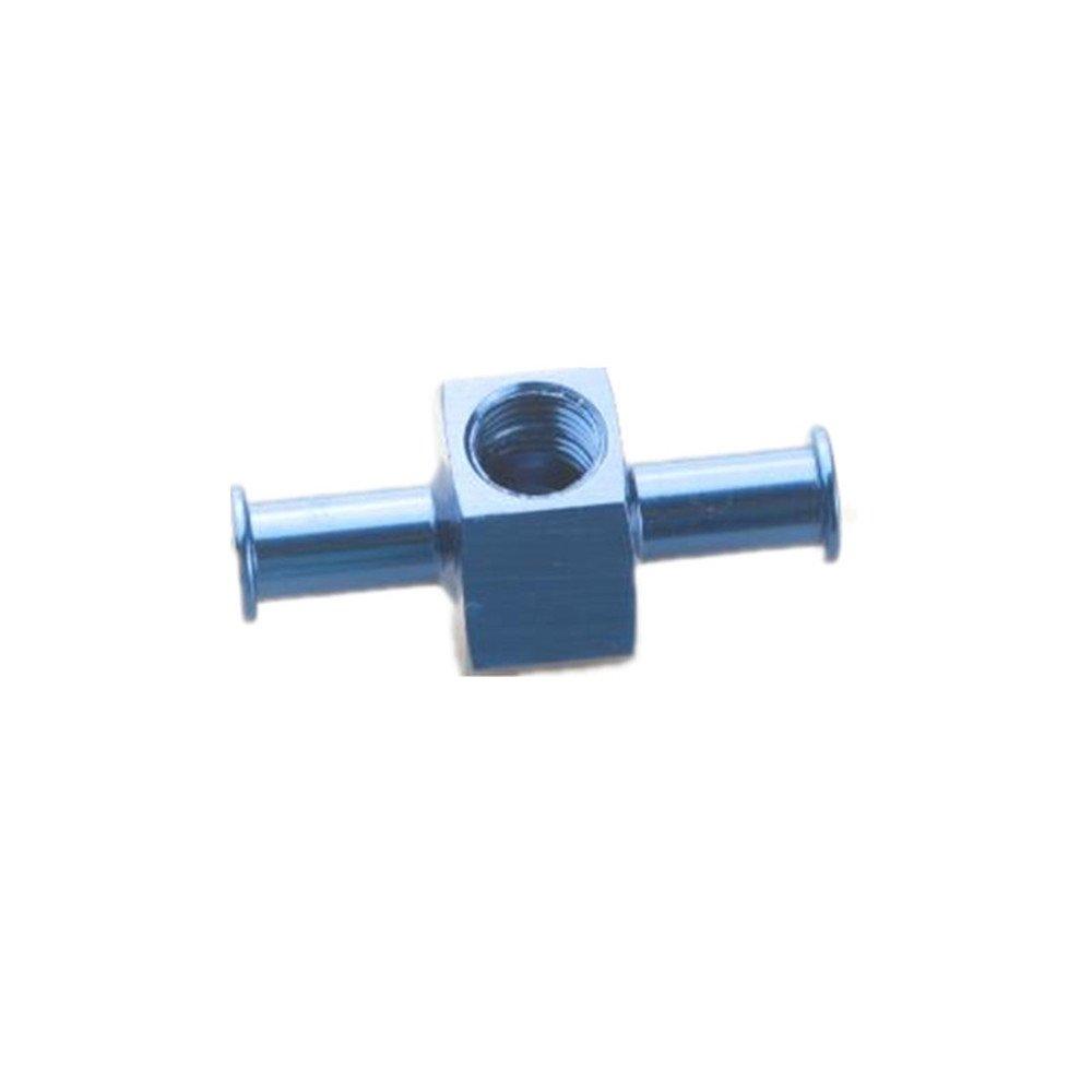 5/16' 8mm Billet Fuel Pressure Gauge Inline Barb Adapter With 1/8' Port Black AdlerSpeed