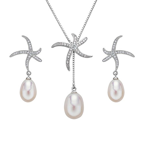 EleQueen 925 Sterling Silver Pave CZ AAA Cream Freshwater Cultured Pearl Teardrop Starfish Bridal Pendant Necklace Earrings Set Clear