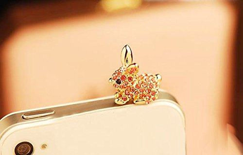 ZOEAST(TM) Luxury Bling Pink Rabbit Hare Cony Hello Kitty Dust Plug 3.5mm Phone Headphone Jack Earphone Ear Cap Dust Plug Charm iPhone 4 4S 5 5S 6 6S 7 Plus Huawei Samsung iPad iPod (Pink Rabbit) - Rabbit Dust