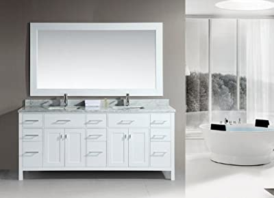 "Design Element DEC088 London 78"" Free Standing Vanity Set with Cabinet, Top with,"