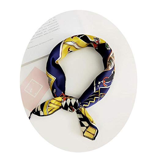 - Women Square Silk Head Neck Feel Satin Scarf Skinny Retro Hair Tie Band Small Fashion Square Scarf,Color 37 Scarf