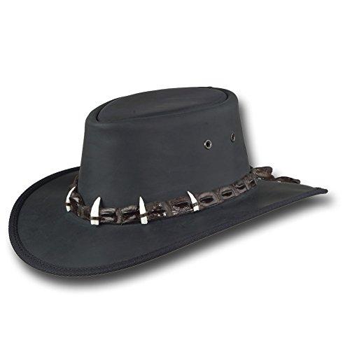 Barmah Hats Outback Crocodile Leather Hat 1033BL / 1033BR - Black - Large -