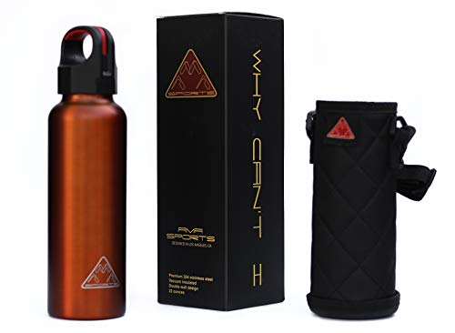 ama-sports 22oz Water Bottle Double Vacuum Insulated Premium 304 Stainless Steel BPA Free Leakproof Polished Interior w/Custom Insulated Carrying Case