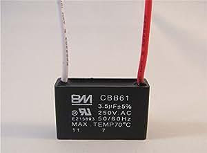 Amazon Com Ceiling Fan Capacitor Cbb61 3 5uf 2 Wire Home