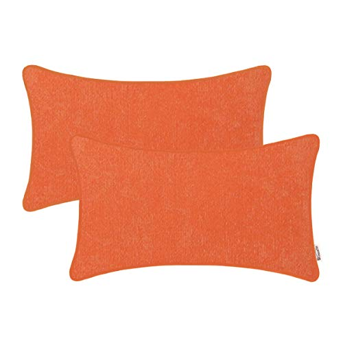BRAWARM Cozy Bolster Pillow Covers Cases for Couch Sofa Bed Solid Corduroy Striped Ultra Soft Lumbar Cushion Covers with Piped Edges Both Sides for Home Decor 12 X 20 Inches Vibrant Orange Pack of 2