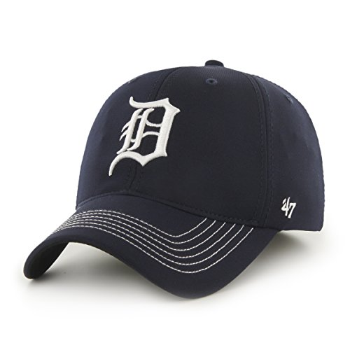 Tigers Game Detroit - '47 MLB Detroit Tigers Brand Game Time Closer Stretch Fit Hat, One Size Stretch, Navy