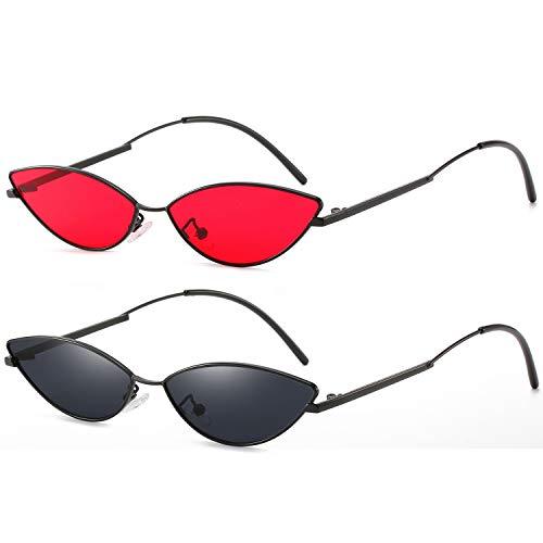 AOOFFIV Vintage Slender Oval Sunglasses Small Metal Frame Candy Colors (2pack Red Lens Gold Frame/Black Lens Black ()