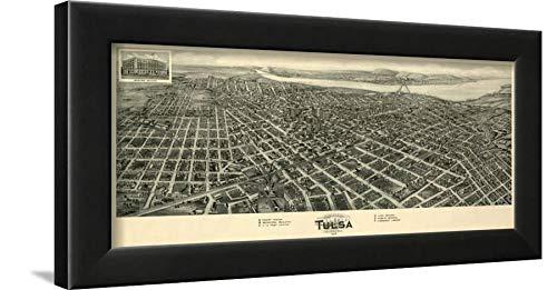 ArtEdge Tulsa, Oklahoma-Panoramic Map Wall Art Framed Print, 12x16, Black Unmatted ()