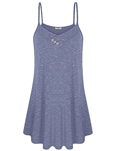 Camisoles for Women,Timeson Summer V Neck Loose Fit Cami Tank Button Spaghetti (Womens Cami Top Pants)