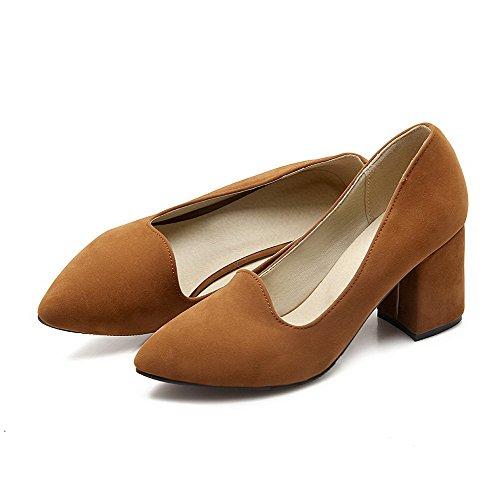 Allhqfashion Mujeres Flock High-heels Acentuado Cerrado Toe Sólido Pull-on Pumps-Zapatos Amarillo
