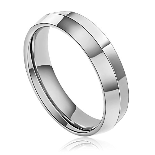 KnBoB Stainless Steel Ring for Men Center Convex Comfort Fit Silver Wedding Band Ring Size 8