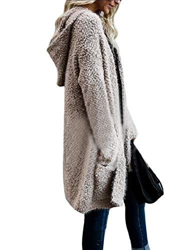 Knitted Khaki Slim Solid Jacket Hooded Plush Color Cardigan Womens Coat Mogogo wqptUn