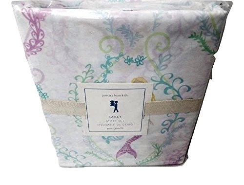 Pottery Barn Kids Bailey Mermaid Queen Sheet Set Girls Cotton from Pottery Barn Kids
