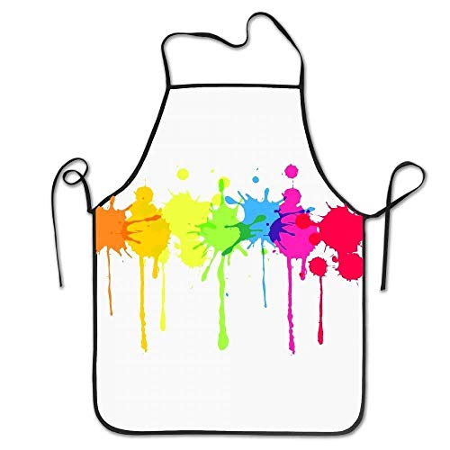 Mydufish Apron Rainbow Paint Splatter Deluxe Aprons Personalized Printing Kitchen ()