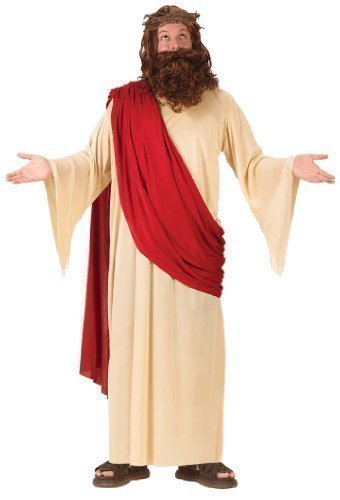 Mens Jesus Joseph Easter Christmas + Beard & Wig Religious Fancy Dress Costume Outfit by Fancy Me