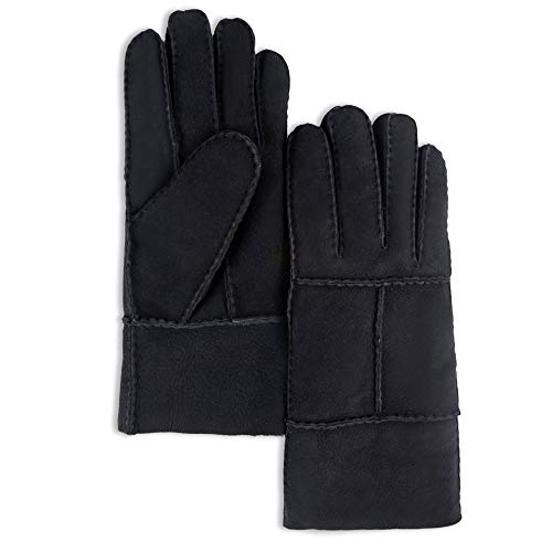 YISEVEN Men's Sheepskin Mittens Shearling Leather Gloves Mittens Sherpa Fur Flip Cuff Thick Wool Lined and Heated Warm for Winter Cold Weather Dress Driving Work Xmas Gifts, Rugged Black ()