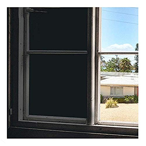 - Soqool Blackout Window Film Privacy Window Vinyl 100% Light Blocking Room Darkener Window Cover - Sun Light Control Window Darkener for Day Sleep/Privacy, No Glue Easy Removal/Install (17.7