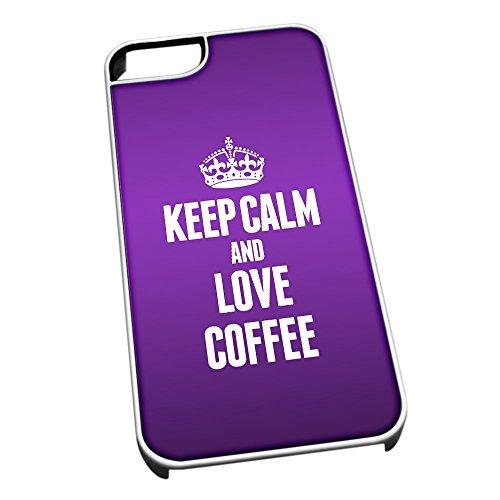 Bianco cover per iPhone 5/5S 0981viola Keep Calm and Love Coffee