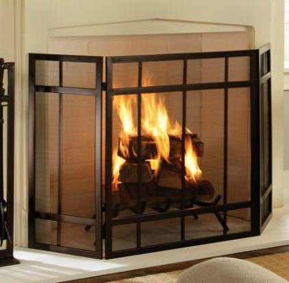 (By Home Design Fireplace Screen, 3-Panel Mission Style)