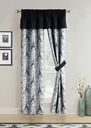 HowPlumb Window Curtains Black Gray Paris Eiffel Tower French Script Valance Panel Pair Drapes, 84″