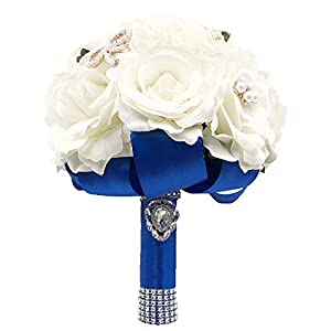 Abbie Home Bride Bouquets-Wedding Flower Bouquet Handmade Orchid Rose Baby Breath with Silk Belt and Holding 50