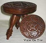 "Round Wooden Altar Table: Pentagram 6"""